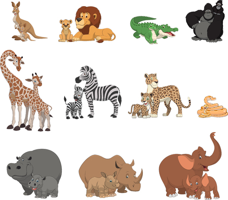 Illustration pour Vector illustration set of funny exotic animals - image libre de droit