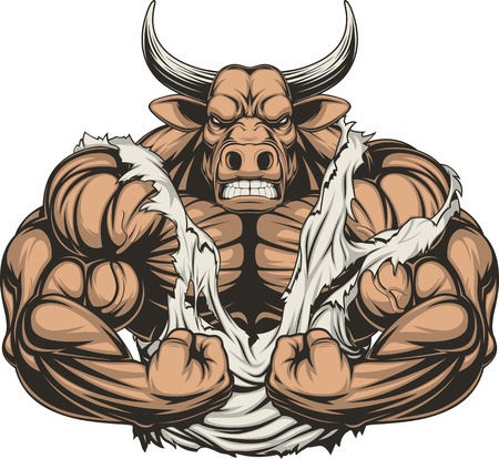 Illustration pour Vector illustration of a strong bull with big biceps - image libre de droit
