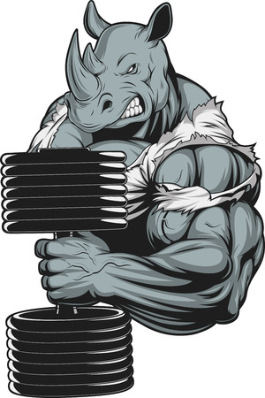 Illustration for Vector illustration, a ferocious rhino athlete doing exercise for biceps with dumbbells - Royalty Free Image