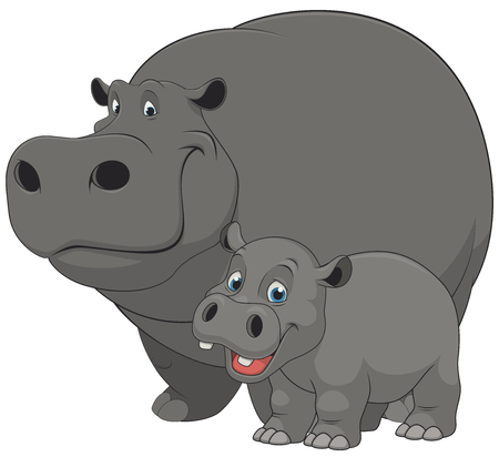 Illustration for Vector illustration of an adult hippo and baby hippo, on a white background - Royalty Free Image