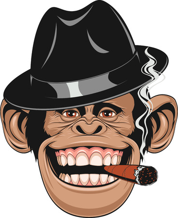 Illustration pour illustration of funny chimpanzee hat gangster smoking a cigar and laughing - image libre de droit