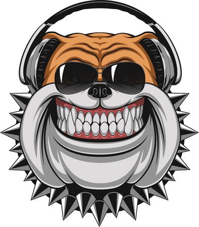 Illustrazione per Vector illustration of funny bulldog wearing headphones listening to music, smiling - Immagini Royalty Free