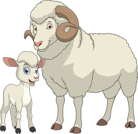 Illustration for illustration funny exotic animal sheeps family - Royalty Free Image