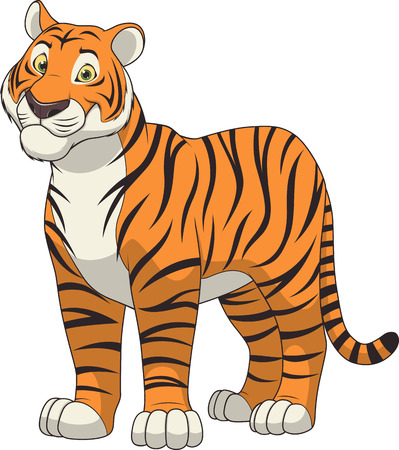 Illustration for illustration adult funny tiger smiling on a white background - Royalty Free Image