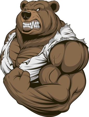 Ilustración de Vector illustration, a ferocious bear athlete posing, showing large biceps - Imagen libre de derechos