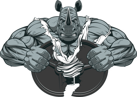 Illustration for Vector illustration of a strong rhino with big biceps - Royalty Free Image