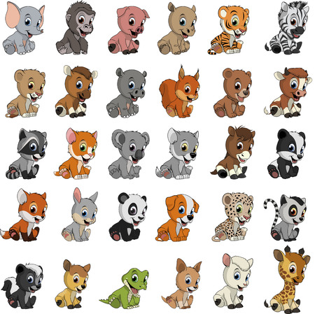 Illustration for Vector illustration set of funny exotic animals on a white background - Royalty Free Image