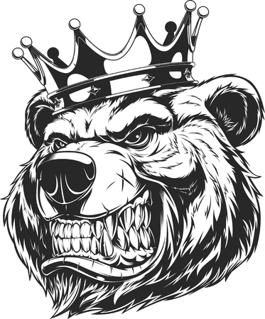 Ilustración de Vector illustration of a furious bear in the crown, bear of the king. - Imagen libre de derechos