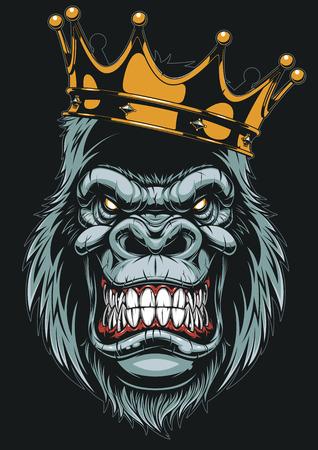 Illustrazione per Vector illustration, ferocious gorilla head on with crown, on white background - Immagini Royalty Free