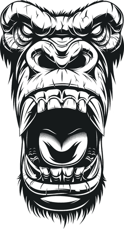 Illustration pour Vector illustration, ferocious gorilla head, on white background, sketch - image libre de droit