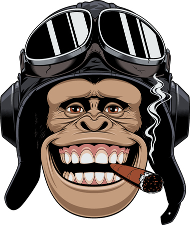 Illustration for Vector illustration, a chimpanzees head in a pilot's helmet, smokes a cigar and smiles. - Royalty Free Image