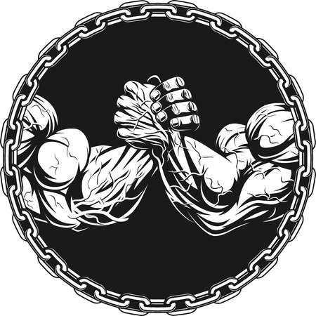 Illustration pour Symbol of the competition on armwrestling, on white background vector illustration - image libre de droit