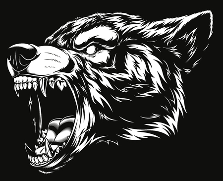 Illustration pour Ferocious wolf head illustration. - image libre de droit