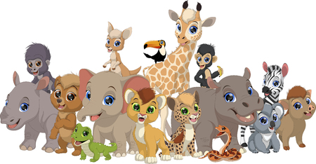 Illustration for Vector illustration set of funny exotic baby animals, isolated on white background - Royalty Free Image