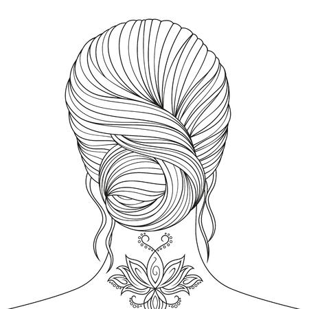 Illustration pour Vector illustration, beautiful girl coloring, on white background. - image libre de droit