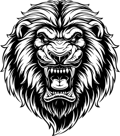 Illustration for illustration, head of a ferocious lion, black contour on a white background - Royalty Free Image