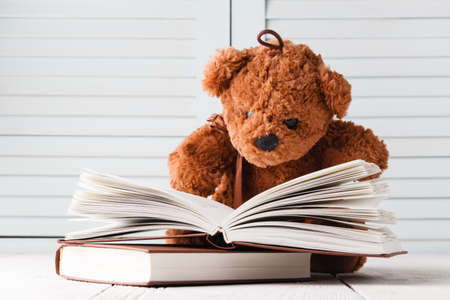Photo for Children learning, teddy and books - Royalty Free Image
