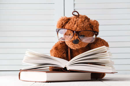 Photo for Kid Tale with teddy bear and books  - Royalty Free Image