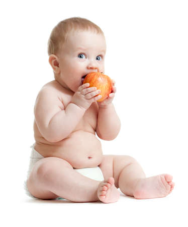 Photo for Baby boy eating healthy food isolated - Royalty Free Image