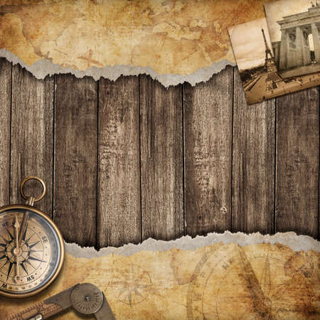 Foto de Old map background with compass. Adventure or discovery concept. - Imagen libre de derechos