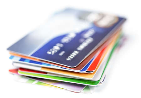 Photo pour credit cards stack on white - image libre de droit
