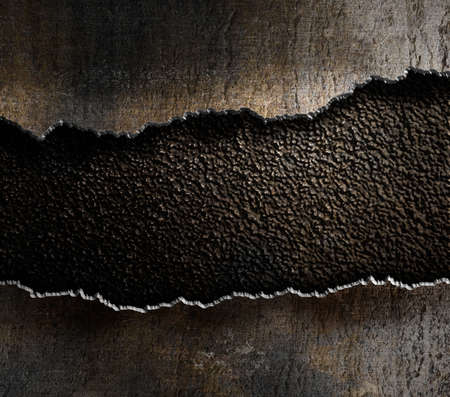 Photo pour damaged metal torn edges background - image libre de droit