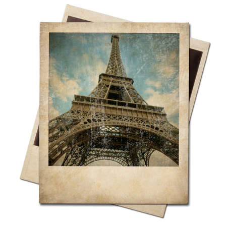Photo for Vintage polaroid Eiffel tower instant photo - Royalty Free Image