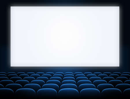 Photo for cinema screen with open blue seats - Royalty Free Image