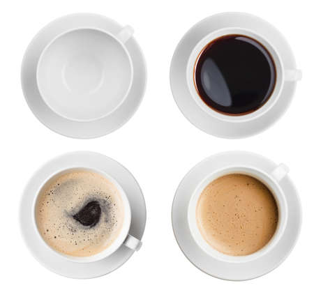 Foto de coffee cup assortment top view collection isolated - Imagen libre de derechos