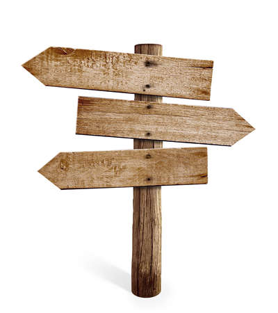 Photo pour wooden arrow sign post or road signpost isolated - image libre de droit