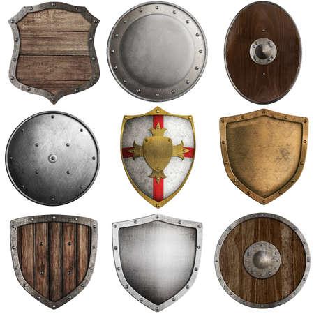 Foto de medieval shields collection #2 isolated on white - Imagen libre de derechos