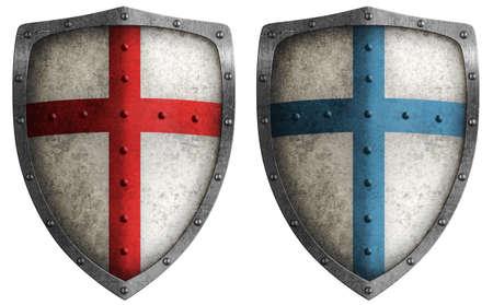 Foto de medieval crusader shield illustration isolated on white - Imagen libre de derechos