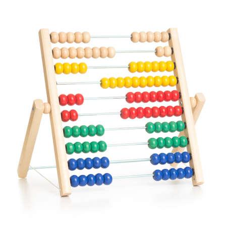 Foto de colorful abacus kids toy isolated on white - Imagen libre de derechos