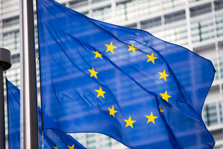Photo for EU flag in front of Berlaymont building facade - Royalty Free Image