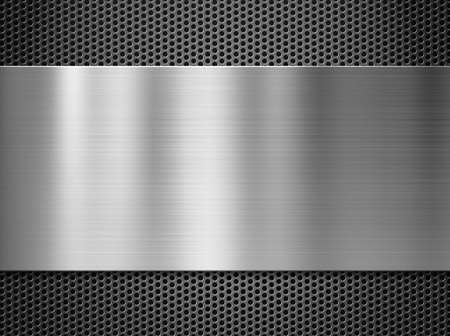 Photo pour steel metal plate over grate background - image libre de droit