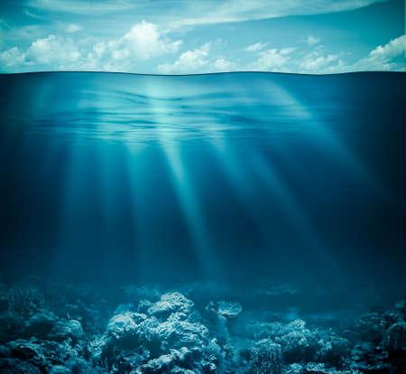 Foto de Underwater coral reef seabed and water surface with sky - Imagen libre de derechos