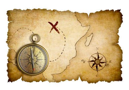 Photo pour Pirates treasure map with compass isolated - image libre de droit