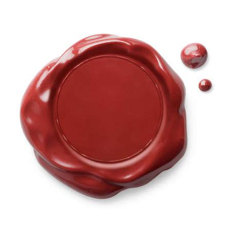Foto de Red wax seal isolated on white - Imagen libre de derechos