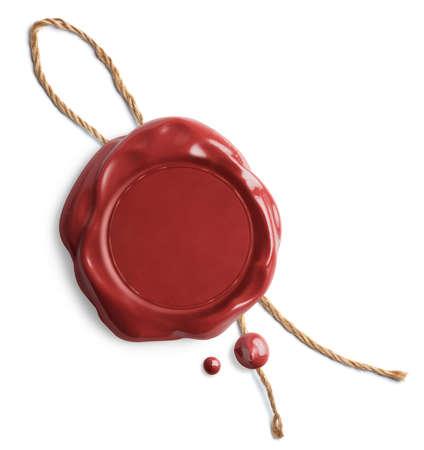 Foto de Red wax seal with rope isolated on white - Imagen libre de derechos