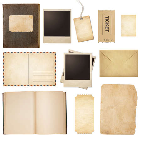 Photo pour Old mail, paper, book, polaroid frames, stamp isolated collection - image libre de droit
