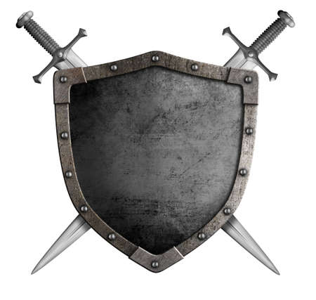Photo for coat of arms medieval knight shield and sword isolated on white - Royalty Free Image
