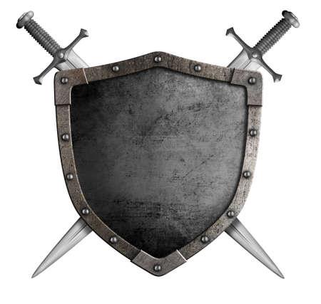 Foto de coat of arms medieval knight shield and sword isolated on white - Imagen libre de derechos