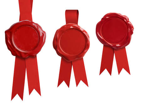 Foto de Red wax seal stamps with ribbon isolated on white - Imagen libre de derechos