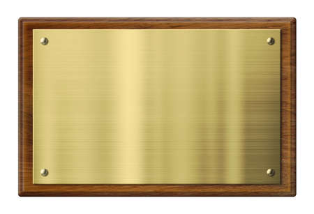 Foto per wood plaque with brass or gold metal plate isolated with clipping path included - Immagine Royalty Free