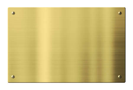 Foto per Brass or gold metal plate isolated with clipping path - Immagine Royalty Free