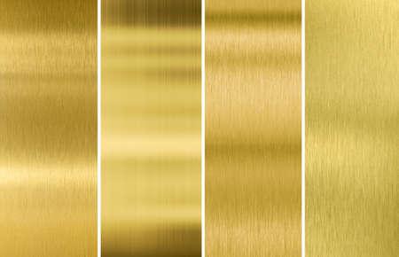 Photo pour Four various brushed gold metal textures set - image libre de droit
