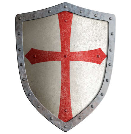 Photo pour templar or crusader metal shield isolated on white - image libre de droit