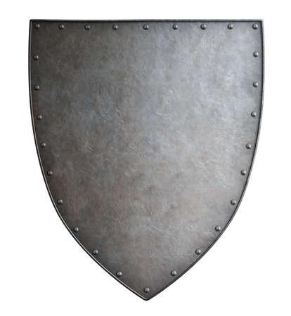 Foto de Simple medieval coat of arms metal shield isolated - Imagen libre de derechos