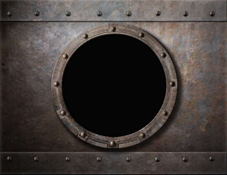 Photo pour submarine armoured porthole or window metal background - image libre de droit