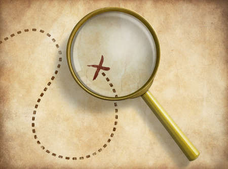 Photo pour Magnifying glass and track with marked location on old map. Path finding concept. - image libre de droit